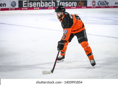Wolfsburg, Germany, February 20, 2019: Hockey player, Wade Bergman, in action during the German first division game between Grizzlys Wolfsburg and Augsburger Panther at EisArena.
