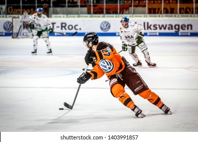Wolfsburg, Germany, February 20, 2019: Hockey player, Cole Cassels, in action during the german first division game Grizzlys Wolfsburg vs Augsburger Panther at EisArena.