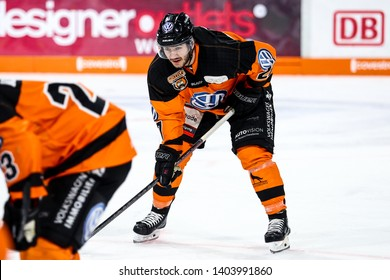 Wolfsburg, Germany, February 20, 2019: Wolfsburg ice hockey player during the German first division game between Grizzlys Wolfsburg and Augsburger Panther at EisArena.