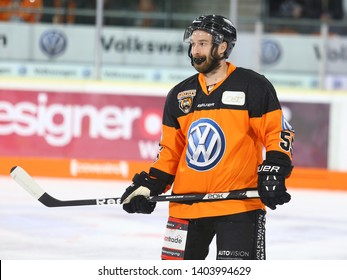 Wolfsburg, Germany, February 20, 2019: Petr Pohl on 2018-2019 season during the German first division game Grizzlys Wolfsburg vs Augsburger Panther at EisArena in Wolfsburg, Germany.