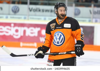 Wolfsburg, Germany, February 20, 2019: famous hockey player, Petr Pohl, during the German first division game between Grizzlys Wolfsburg and Augsburger Panther at EisArena in Wolfsburg, Germany.