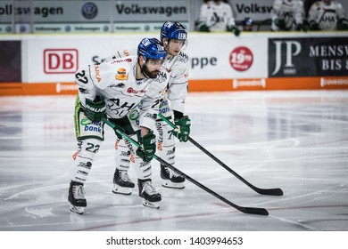 Wolfsburg, Germany, February 20, 2019: Augsburg hockey players during the German first division game between Grizzlys Wolfsburg and Augsburger Panther at EisArena.