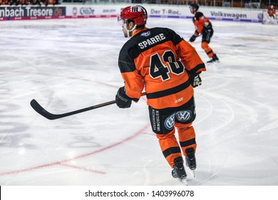 Wolfsburg, Germany, February 20, 2019: Daniel Sparre during the German first division match Grizzlys Wolfsburg vs Augsburger Panther at EisArena in Wolfsburg.