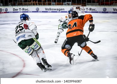 Wolfsburg, Germany, February 20, 2019: German first division hockey players in action during the match Grizzlys Wolfsburg vs Augsburger Panther at EisArena in Wolfsburg, Germany.