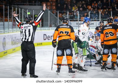 Wolfsburg, Germany, February 20, 2019: a moment during the ice hockey game between Grizzlys Wolfsburg and Augsburger Panther at EisArena on 2018/2019 season.