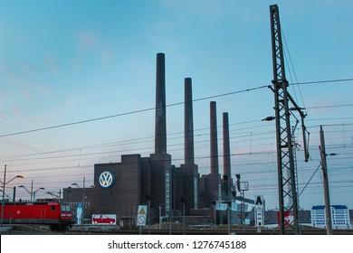 WOLFSBURG, GERMANY - JAN 7, 2019: Wolfsburg Volkswagen Plant, Volkswagen's Largest Manufacturing Plant In The World