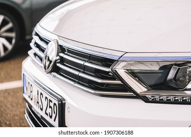 Wolfsburg, Germany - June 19, 2016: Volkswagen VW e-Golf electric car on the city streets. Volkswagen is a German car manufacturer headquartered in Wolfsburg, Germany.
