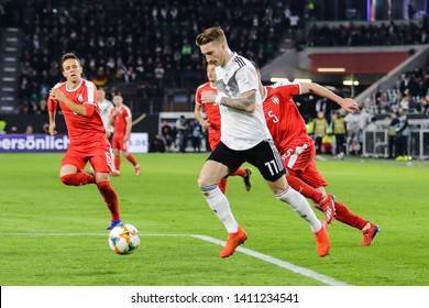 Wolfsburg, Germany, March 20, 2019: German soccer player Marco Reus in action during the international friendly game between German and Serbian national team.