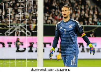 Wolfsburg, Germany, March 20, 2019: Germany national team goalkeeper, Manuel Neuer, during the international friendly game Germany vs Serbia at Volkswagen Arena in Wolfsburg.
