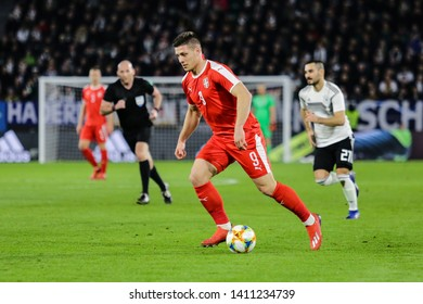 Wolfsburg, Germany, March 20, 2019: Serbian footballer, Luka Jovic, in action during the international friendly soccer game Germany vs Serbia.