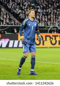 Wolfsburg, Germany, March 20, 2019: German goalkeeper Manuel Neuer during the international friendly game between Germany and Serbia.