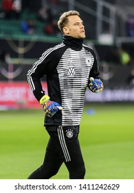 Wolfsburg, Germany, March 20, 2019: German goalkeeper Manuel Neuer during warm-up session before the international friendly game Germany vs Serbia at Volkswagen Arena in Wolfsburg.