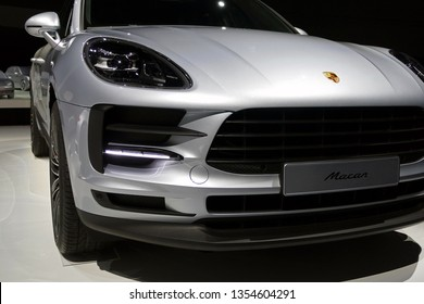 WOLFSBURG, GERMANY - March 22, 2019: Porsche Macan in showroom