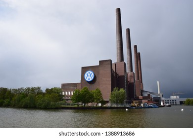 Wolfsburg, Germany - May 4, 2019: Historic power plant of the VW factory.