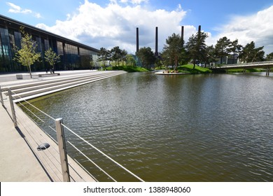 Wolfsburg, Germany - May 4, 2019: Museum and amusement park of Volkswagen in Wolfsburg