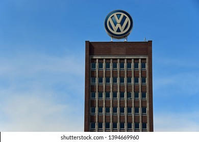 Wolfsburg, Germany - May 4, 2019: Volkswagen AG building in Wolfsburg