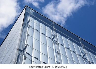 Wolfsburg, Germany - May 4, 2019: Pavilion with glass facade in the Volkswagen amusement park