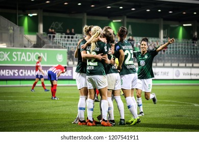 WOLFSBURG, GERMANY October 17 2018. Wolfsburg's female team celebrating third goal during match UEFA Women's Champions League. VfL Wolfsburg - Athletic Madrid. October 18, 2018 in Wolfsburg, Germany.
