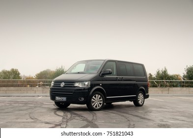 Wolfsburg, Germany - September 28, 2017 - The Volkswagen Transporter/Caravelle/Multivan (T5) is a van produced by the German manufacturer Volkswagen. Business class transfer. Transportation service.