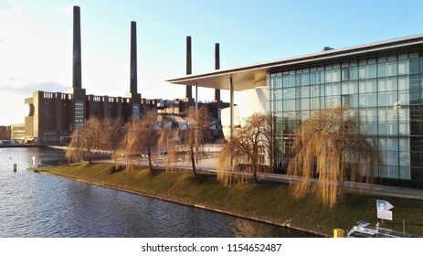 Wolfsburg, Lower Saxony / Germany - 02 24 2018 - Volkswagen old power plant and Autostadt