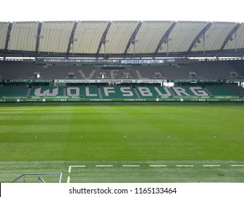 "Wolfsburg, Lower Saxony / Germany - 07 15 2015: Empty VFL Stadium with ""Wolfsburg"" written on seats"