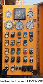 Wolfsburg, Lower Saxony, Germany, April 18, 2018: Analog control panel for operating a suction trolley for pumping out liquids, construction site
