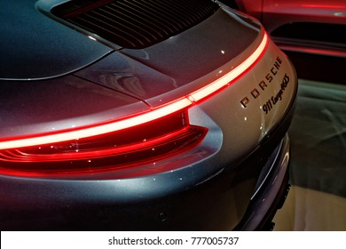 Wolfsburg, Lower Saxony, Germany, December 18 2017: Taillights of the Porsche 911 targa in the Porsche Pavilion in the AutostadtTranslated with www.DeepL.com/Translator