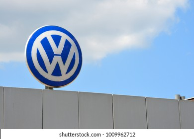 Wolfsburg, Lower Saxony / Germany - May 21, 2017: VW logo in the entrance area to the headquarter of Volkswagen AG, Wolfsburg, Germany