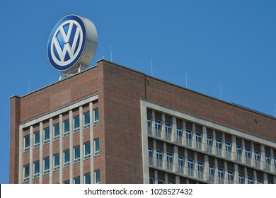Wolfsburg, Lower Saxony / Germany - May 21, 2017: VW logo on the roof of headquarters of Volkswagen AG in Wolfsburg, Germany
