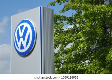 Wolfsburg, Lower Saxony / Germany - May 24, 2015: VW logo in the entrance area to the headquarter of Volkswagen AG, Wolfsburg, Germany