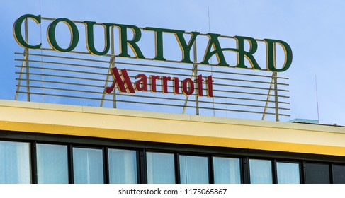 Wolfsburg, Lower Saxony, Germany, May 15., 2018: Lettering above the entrance of the Marriot Hotel in Wolfsburg am Allersee
