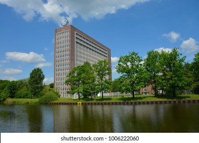 Wolfsburg, Lower Saxony/Germany - May 21, 2017: Headquarters of automobile manufacturer Volkswagen in Wolfsburg, Germany