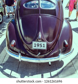 Wolfsburg, Lower-Saxony, Germany, July 1st 2018: Historical VW Beetle from 1951 at the city festival in Wolfsburg, back side with typical pretzel windows