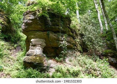 Wolfsschlucht rocky gorge with imposing rocks below Ebersteinburg in Baden-Wuerttemberg
