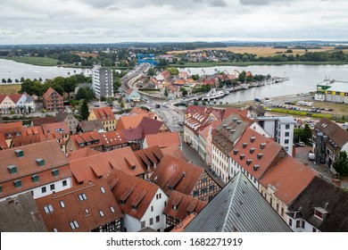 WOLGAST, GERMANY - JULY 31  2019: View from St. Petri church.