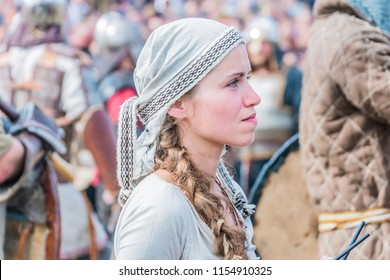 Wolin, Poland - August 02, 2014: 20 th Wolin Viking Festival.This is an important meeting point for Viking and Slav reenactors of Europe. Women are dressed in Slavic and Scandinavian medieval outfits