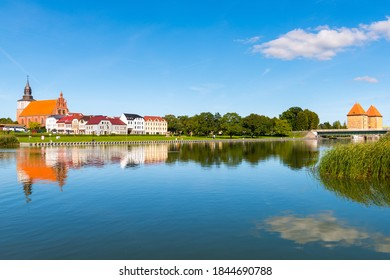 Wolin, Poland - September 18, 2020: Panoramic view of Wolin  town at sunny day.