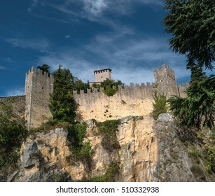 The woll of Guaita fortress is the oldest and the most famous tower on San Marino. Italy.