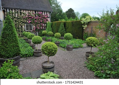WOLLERTON, SHROPSHIRE / UNITED KINGDOM - 22 MAY 2014: The garden at Wollerton Old Hall