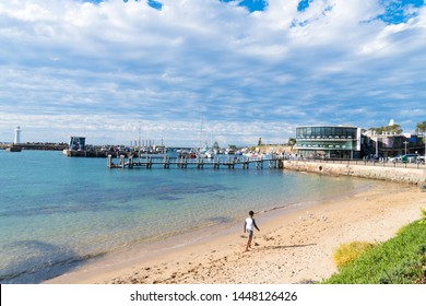 Wollongong, NSW, Australia-June 10, 2019: View over Brighton Beach in Wollongong, NSW's third-largest city, known for skydiving, art galleries, museums, pristine beaches and walking trails