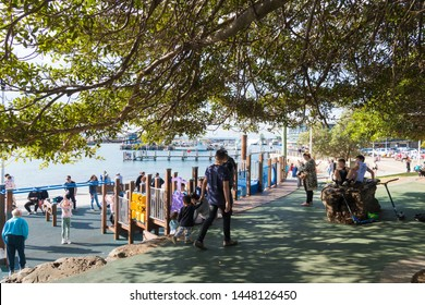 Wollongong, NSW, Australia-June 10, 2019: People enjoying the long weekend in Wollongong, NSW's third-largest city, known for skydiving, art galleries, museums, pristine beaches and walking trails