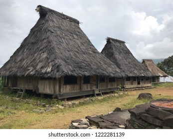 Wologai village in Ende district Flores Indonesia with well maintained houses built in the traditional Lionese architectural style and are constructed from bamboo and palm fiber
