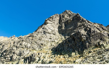 Wolowa Turnia (Volia veza, Volova veza) - is a mountain in the crest of the High Tatras. The wall at the southern exhibition is a popular destination for mountain climbing since early spring. - Shutterstock ID 1092631265