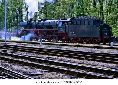Wolsztyn, Poland - April 28, 2018: The parade of steam locomotives in Wolsztyn. The annual show, which takes place in the old steam depot.