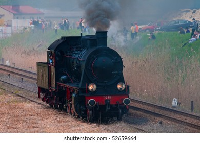 WOLSZTYN, POLAND - MAY 2: On the first weekend of May each year train enthusiasts from across the world descend on Wolsztyn to watch the Steam Parade, with more than a dozen steam trains on May 2, 2010 in Wolsztyn, Poland