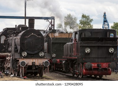WOLSZTYN, POLAND-APRIL 30, 2018: An annual parade of vintage steam locomotives. In Wolsztyn there is also a museum of steam locomotives.