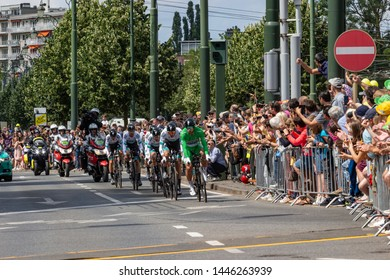 Woluwe-Saint-Pierre, Brussels, Belgium - July 07 2019: the BORA - HANSGROHE team sprint in the second stage of the Tour de France with Peter Sagan