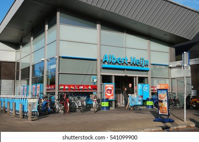 WOLVEGA, NETHERLANDS - DECEMBER 2, 2016: Albert Heijn Supermarket. Albert Heijn is the biggest supermarket chain in The Netherlands owned by Koninklijke Ahold N.V. is a Dutch international retailer.