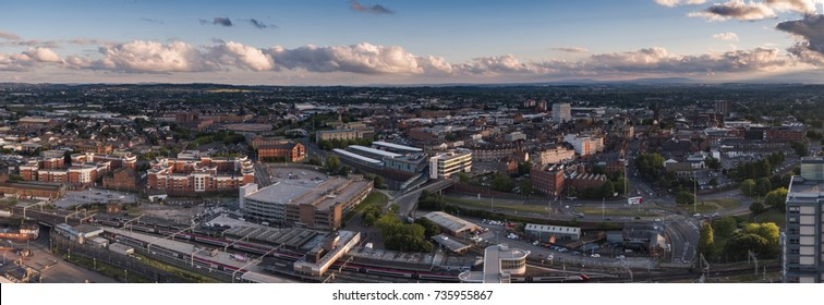 Wolverhampton Aerial Photo, city panoramic view, train station, drone photography