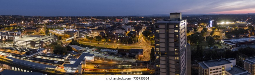 Wolverhampton Aerial Photo at night, city panoramic view, train station, drone photography at night
